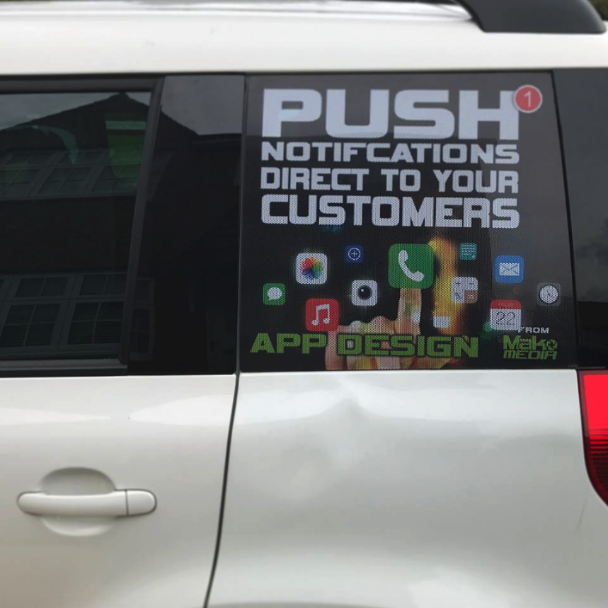 Close up Side View of MakoMedia's Mobile App Car Decals