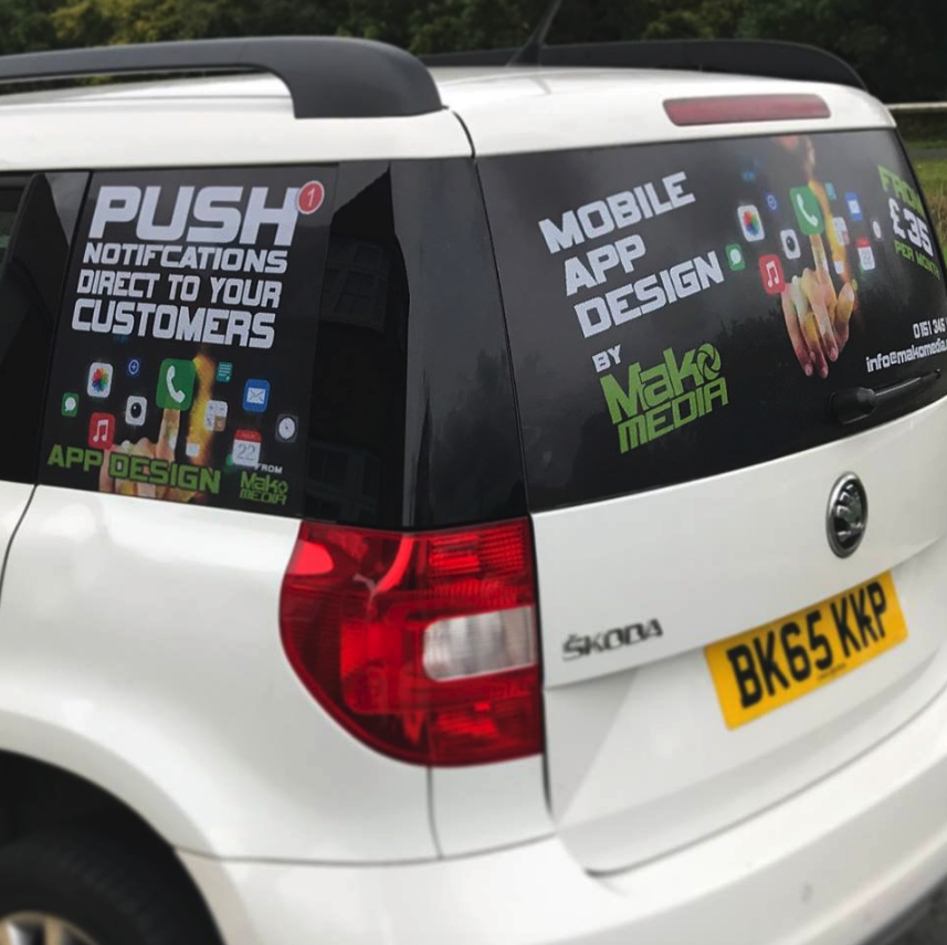Side View of MakoMedia's Mobile App Car Decals
