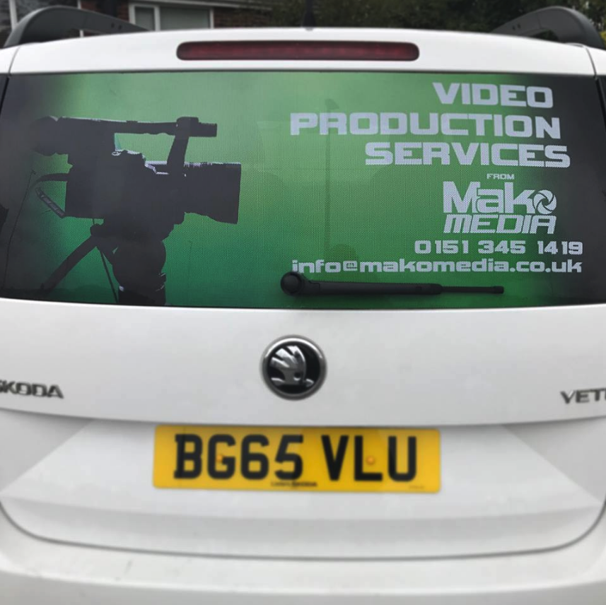 Window View of MakoMedia's Filmmaking Services Car Decals