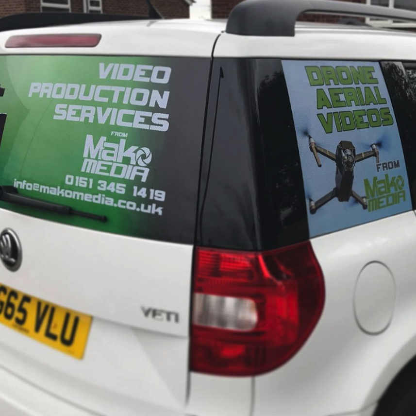 Side View of MakoMedia's Car Decals about Filmmaking Services